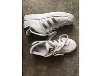 Size 5 - adidas white & silver superstar trainers