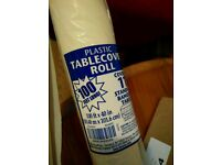 Plastic disposable tablecloth roll, new, excellent quality