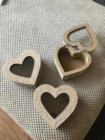 3 wooden love heart storage containers