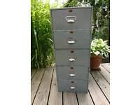 Vintage / Retro Grey Metal 5 Drawer Storage Unit
