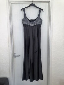 Womens size 12 metallic grey Amanda Wakeley silk long Prom Dress - ONLY BEEN WORN ONCE!!!!