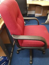 Executive Red Fabric Swivel Chair