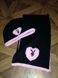 Playboy hat and scarf