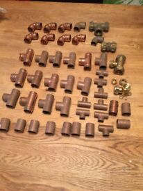 45 assorted plumbing fittings,there are a few more not in photo included in price