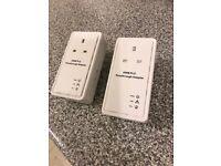 Powerline PassThrough Ethernet Homeplug Adapters (Pair)