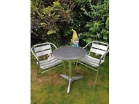 Aluminium Silver Patio Bistro Cafe Set Table and 2 Chairs Garden Outdoor
