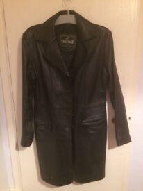 Leather knee length jacket size 14