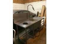 Stainless Steel Passthrough sink with Macerator and hose.