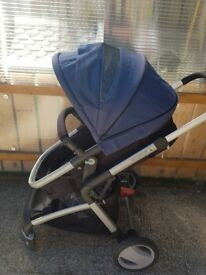 Mothercare blue black and silver pram
