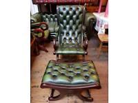 Green Chesterfield Slipper Chair