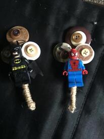 Batman and Spider-Man wedding button holes