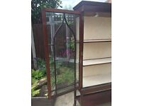 Edwardian Antique Mahogany Wooden Glass Display Cabinet