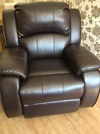 Leather electric recliner armchair