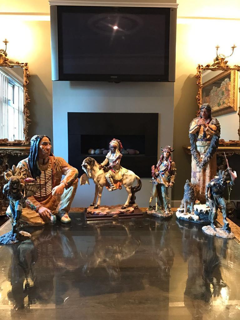Red indian statues job lot