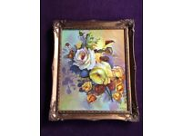 Vintage Oil Painting on Canvas - Autumn Rose