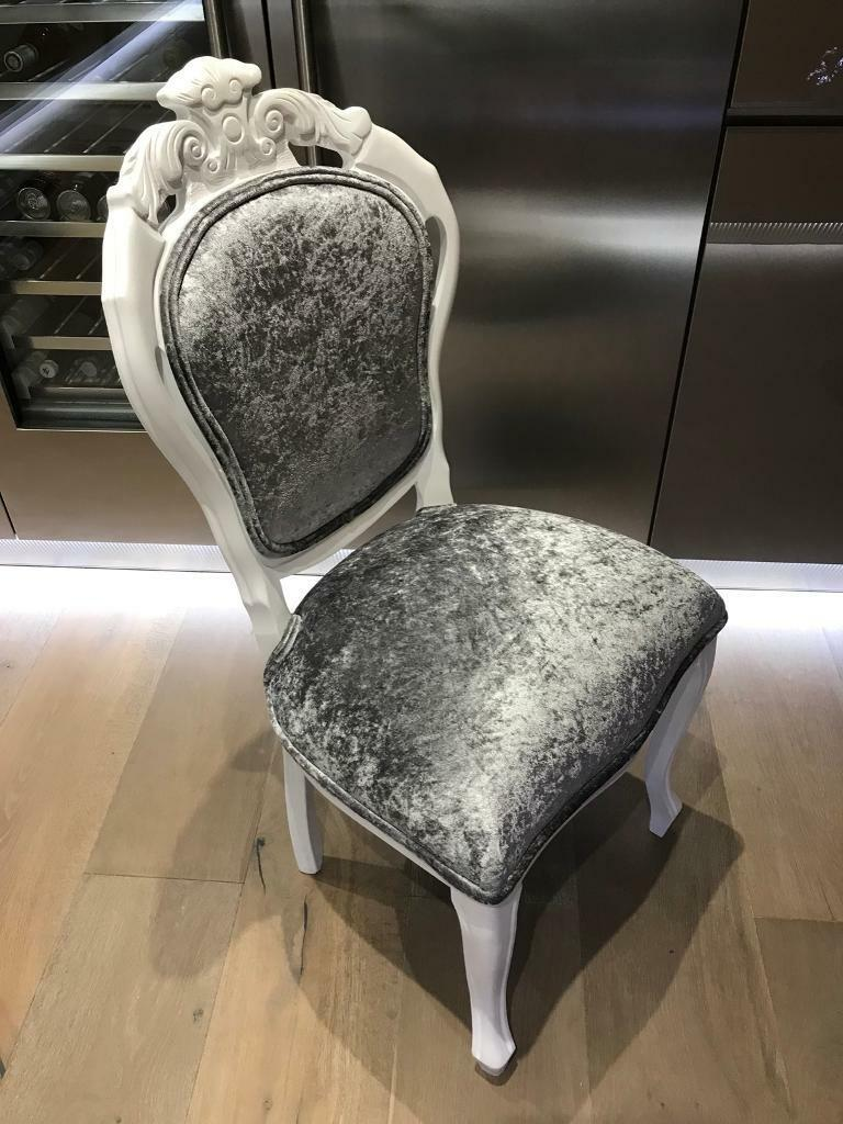 Silver Crushed Velvet Bedroom Dressing Room Chair Bling Shabby Chic