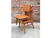 Set of 2 Funky Vintage Dining Chairs Stacking Iconic Mid Century Waiting Seat