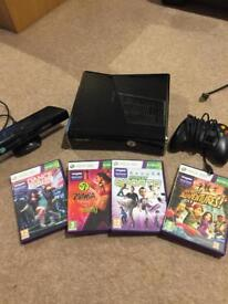 Xbox 360, Kinect, controller and four games