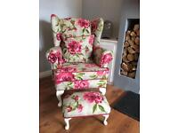 Stunning newly upholstered wing back chair