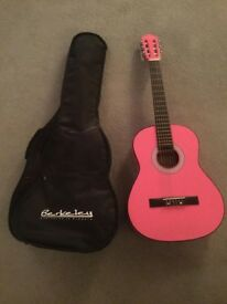 3/4 size pink Berkeley guitar and case - never used