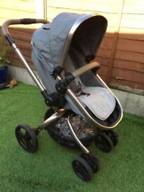 Mothercare orb grey pram and pushchair