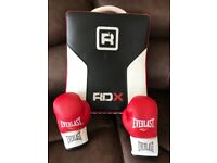 RDX kick boxing pad with pair of boxing gloves