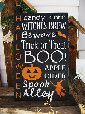Primitive Halloween Sign Subway Art Sign Typography Wall Art 18