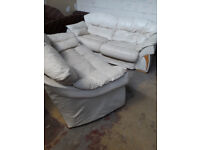 cream/white 2 and 3 seater leather sofas