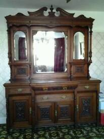 Victorian carved mirror backed sideboard