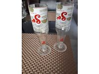 SET OF TWO SOL BEER GLASSES