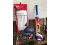 Slazenger Adult cricket bat, gloves, pads, helmet for sale. Hardly used