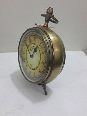 Unique & Decorative Antique Brass Roman Table Desk  Clock