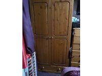 Pine Bedroom Two Door Wardrobe with Storage drawer