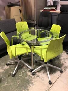 """42"""" Round Glass Table with Chrome Legs - $125"""