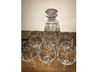 Carlingford Lead Crystal Decanter & 6 Glasses REP £140!
