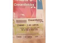 Creamfields 3 day standard camping £180 ONO