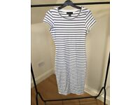 Dress, white with black strips, size 10
