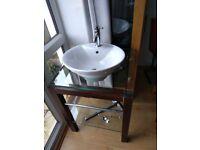 Bathroom Basin, wooden/glass, mirror, toilet roll holder