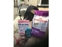 Puppy Starter Set - food, pat carrier, leads, shampoo and puppy pads