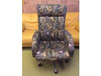 Groovy instrument patterned swivel rocker chair (One off!)