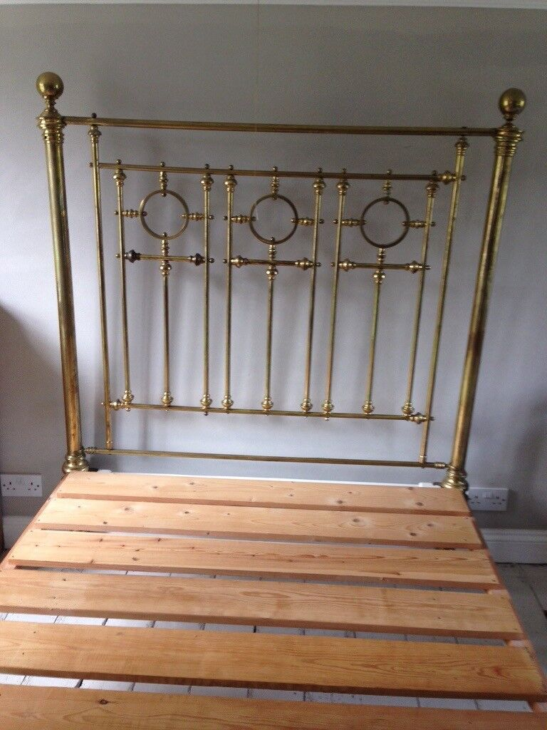 Antique Brass Standard Double Bed Needs Some Tlc Good
