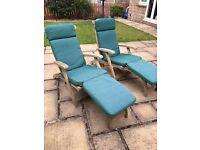 Solid Teak Steamer chairs & cushions