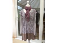 White Stuff knitted dress, long-sleeved top and scarf, size 14