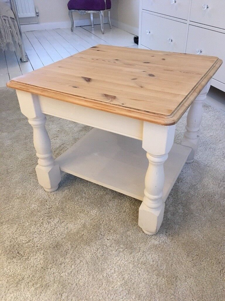 Shabby Chic Cream And Wood Square Coffee Table
