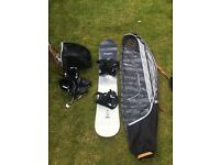 Wed`ze Snowboard and Boots with 2 Carry cases