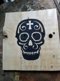 Skull on distressed wood
