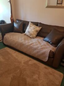 2 Brown Real Leather Sofas