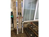 Snow ski poles and boots