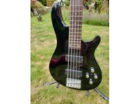 Schecter Omen5 Bass Guitar, Gloss Black