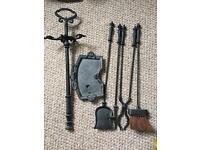 Cast iron fireplace fireside utensils / companion set / accessories